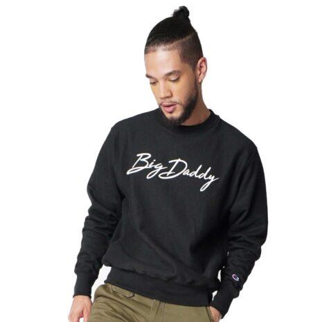 "Big Daddy ""Signature"" Reverse Weave Crew Sweatshirt (Black)"