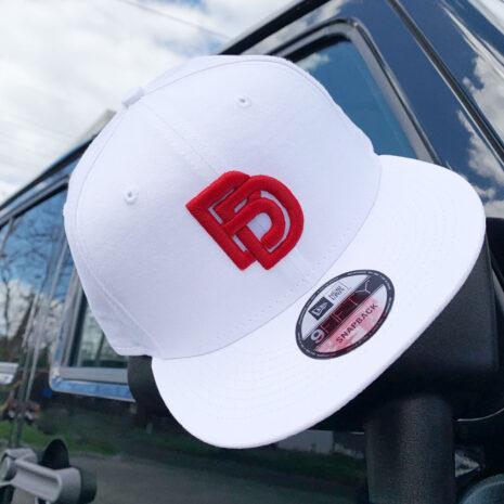 BD-Red puff logo-white hat