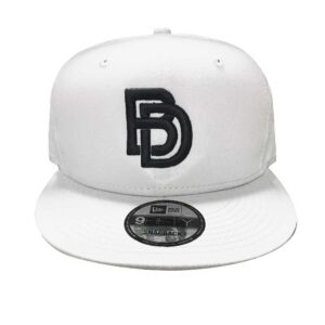 Big Daddy Black Puff Logo Snapback Hat (White)