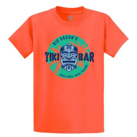 Big Daddy's Tiki Bar Tee in Coral.
